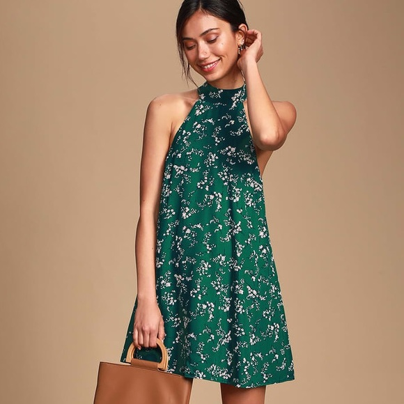 "Lulu's Dresses & Skirts - 🌸 ""Flower Power"" Halter Bow Tie Print Swing Dress"
